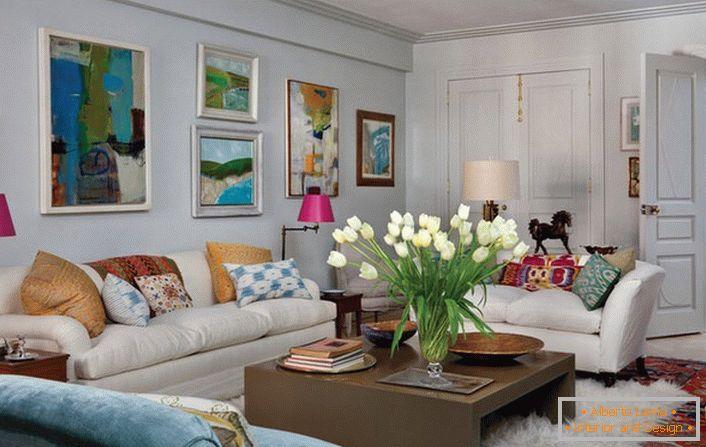Design di un soggiorno in stile eclettico (70 idee per