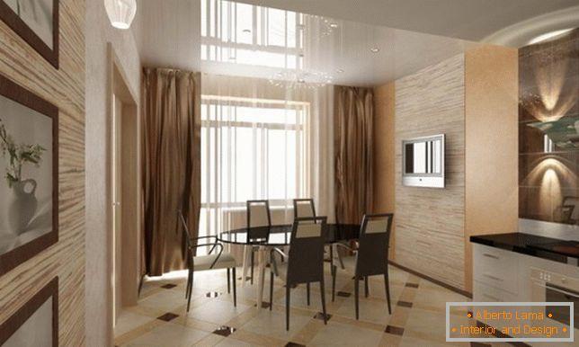 Interior design di cucina-sala da pranzo e cucina-studio