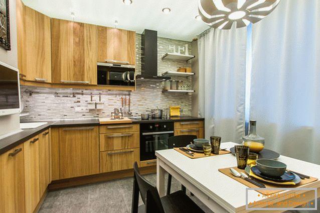Interior design della cucina 10 mq. m. metri in un