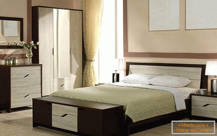 Design degli interni della camera da letto in colore wengé