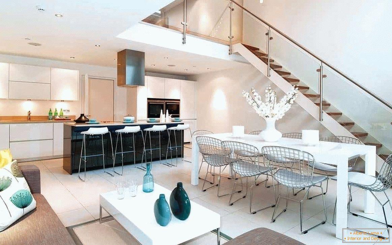 Design cucina-sala da pranzo-soggiorno: 25 foto in una casa