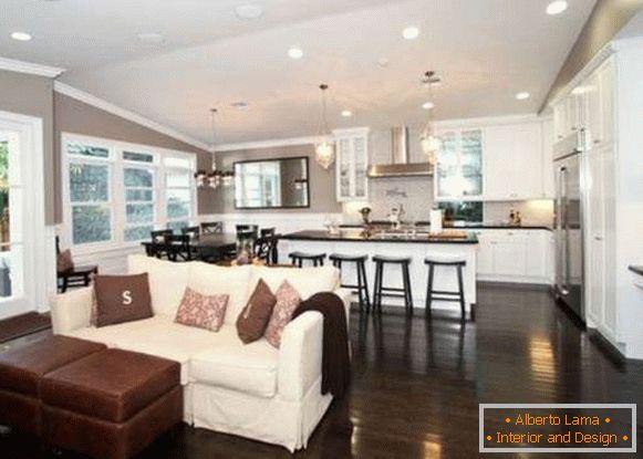 Design della cucina del soggiorno: idee, opzioni di layout e