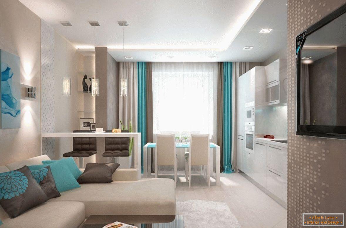 Il design della cucina-soggiorno combinata è di 18 metri