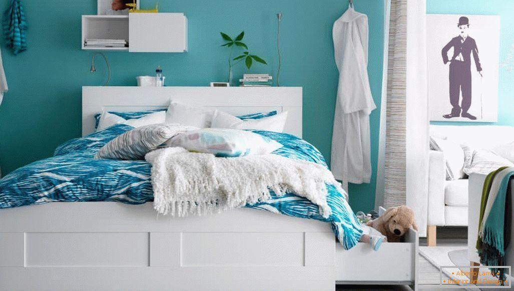 Design della camera da letto in colori turchesi: 75 esempi