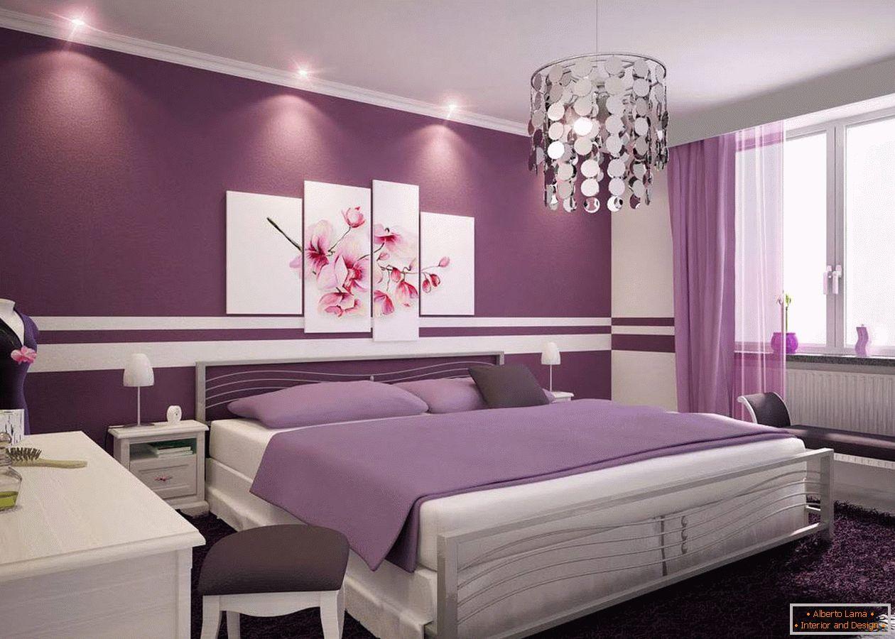 Design della camera da letto in tonalità lilla - una