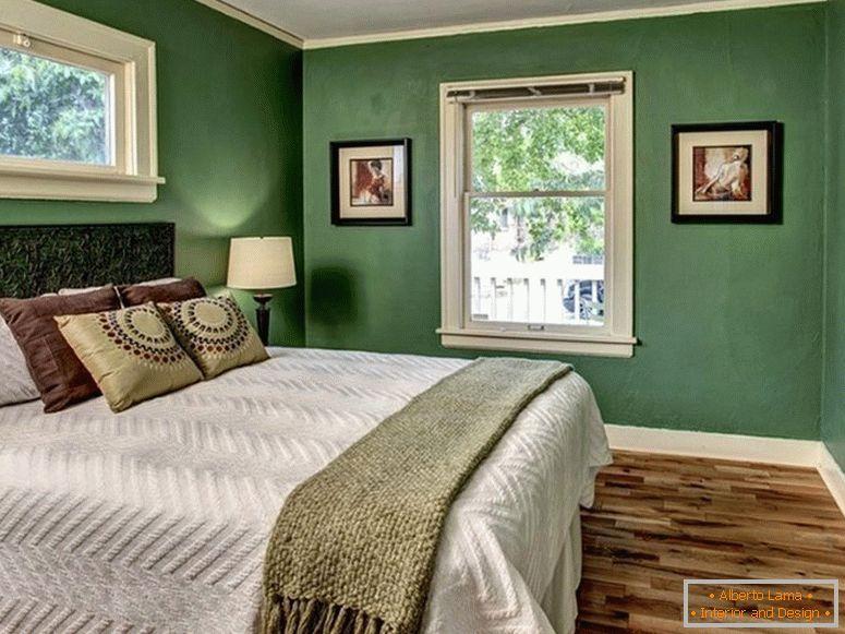 Design della camera da letto nei colori verde