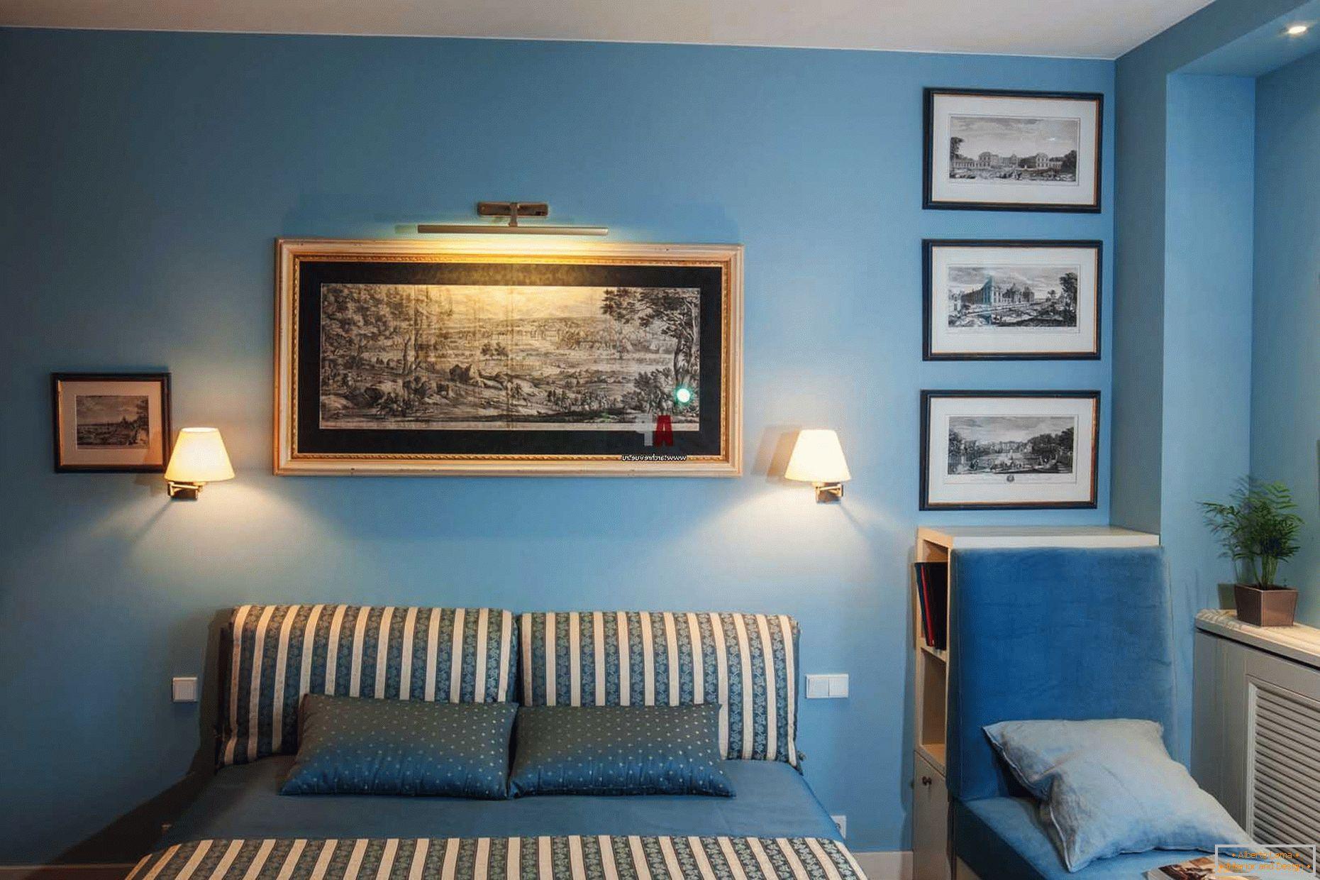 Camera da letto blu +75 design fotografico e interni