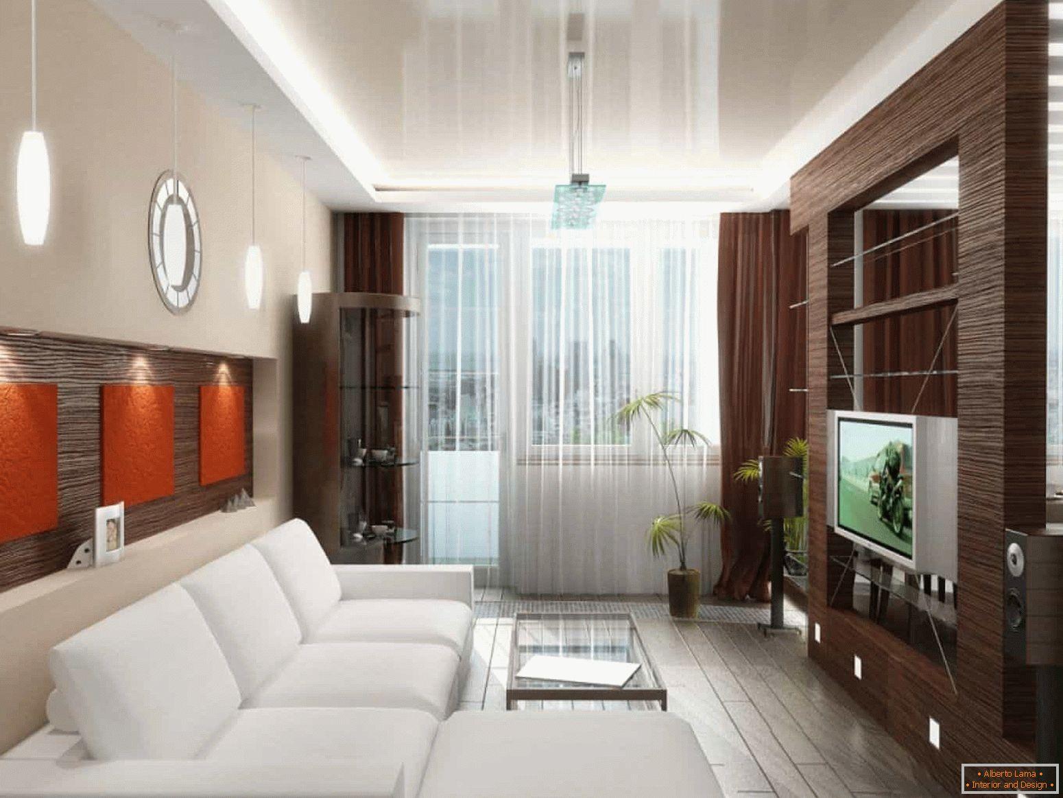 Idee per la progettazione di un soggiorno stretto con una