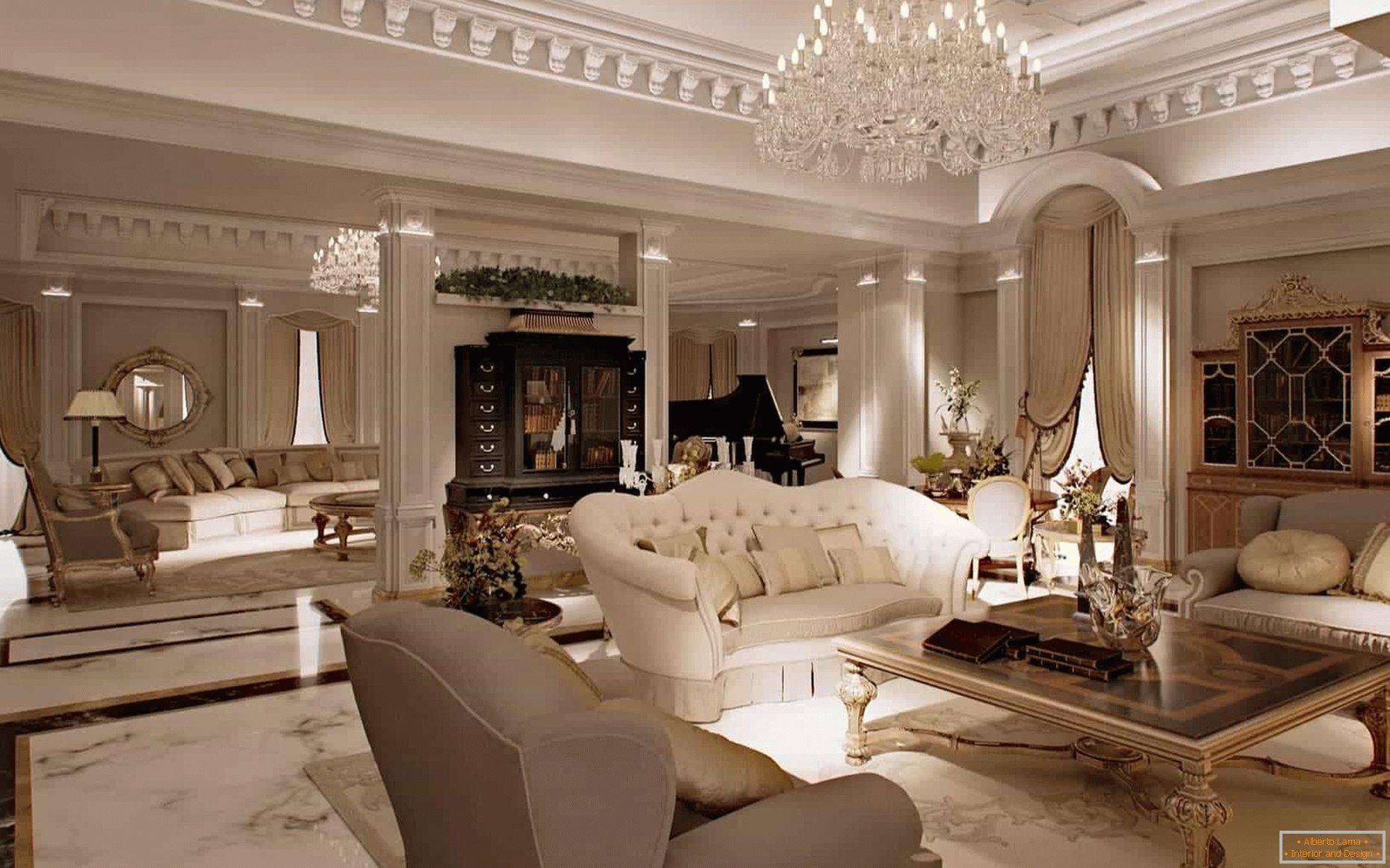 Interno del soggiorno in stile classico - foto design
