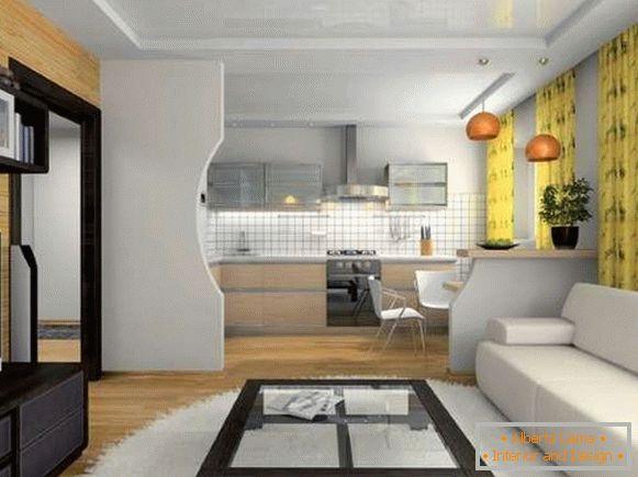 Cucina soggiorno interno in una casa privata: idee di design
