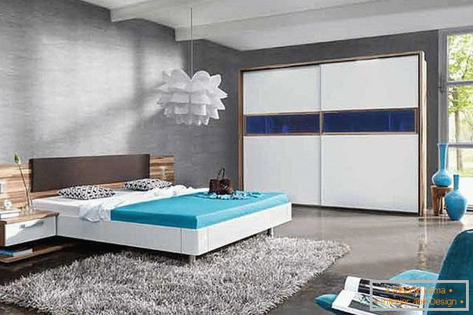 design di una camera da letto in foto di stile high-tech