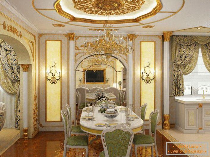 Cucine in un lussuoso stile barocco - per le persone con un