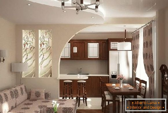 Cucina-soggiorno di 20 mq. m: design dello spazio unito su
