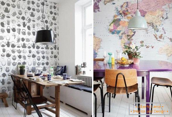 Carta da parati in cucina: 60 idee fotografiche moderne per