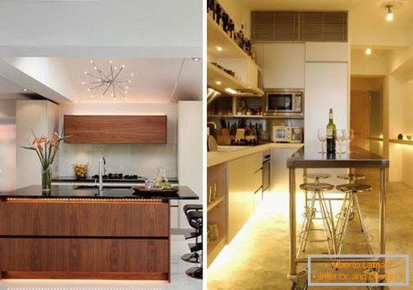 Lavoro e illuminazione decorativa in cucina (idee con foto)